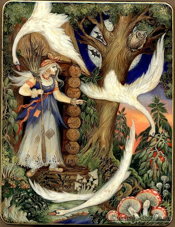 баба-яга-избушка-русская сказка-гуси-лебеди
