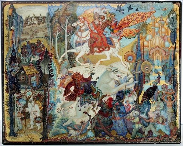 сюжеты сказки Иван-царевич и волк лаковая миниатюра