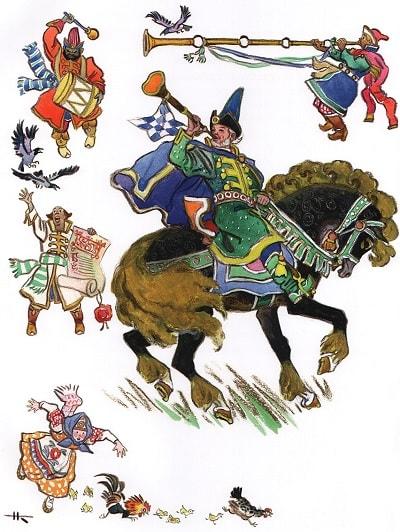 царь кликнул клич, сказка сивка-бурка читать текст с картинками все страницы крупный шрифт много иллюстраций рисунков для детей лаковая миниатюра Палех Федоскино Холуй