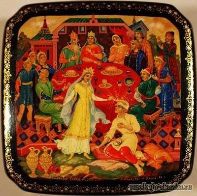 Царевна ему лоб развязала, русская народная старая сказка Сивка-бурка вещая каурка про Ивана-дурака и его братьев, царя принцессу и волшебного коня кольцо поцелуй печать