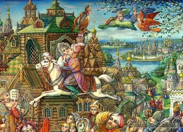 А царевна ударила его кольцом в лоб, русская народная старая сказка Сивка-бурка вещая каурка про Ивана-дурака и его братьев, царя принцессу и волшебного коня кольцо поцелуй печать