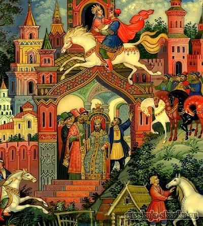 в окошке сидит царевна Несравненная Красота, русская народная старая сказка Сивка-бурка вещая каурка про Ивана-дурака и его братьев, царя принцессу и волшебного коня кольцо поцелуй печать