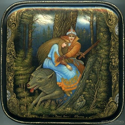 Иван-царевич скачут по лесу на сером волке
