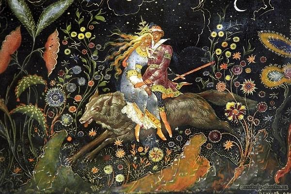 Иван-царевич с Еленой Прекрасной скачут верхом на волке