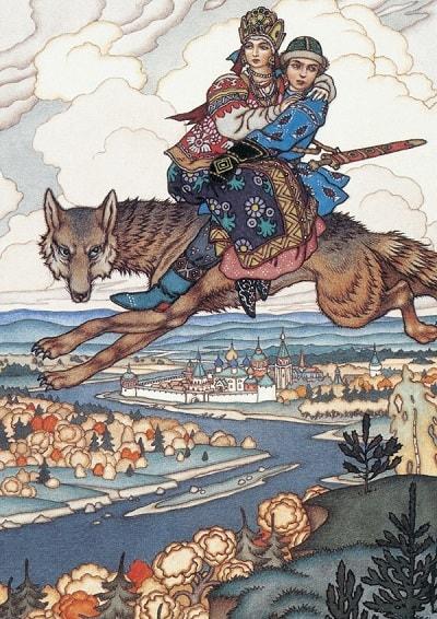 Иван с Еленой Прекрасной верхом на сером волке