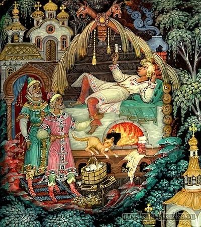 Иван сидит за трубой на печи, сказка сивка-бурка читать текст с картинками все страницы крупный шрифт много иллюстраций рисунков для детей лаковая миниатюра Палех Федоскино Холуй