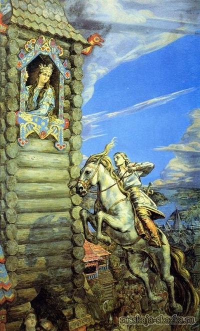 Он разогнал Сивку-бурку, русская народная старая сказка Сивка-бурка вещая каурка про Ивана-дурака и его братьев, царя принцессу и волшебного коня кольцо поцелуй печать
