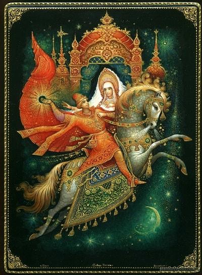 царевна в тереме, русская народная старая сказка Сивка-бурка вещая каурка про Ивана-дурака и его братьев, царя принцессу и волшебного коня кольцо поцелуй печать