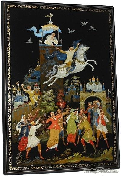 А его и след простыл, русская народная старая сказка Сивка-бурка вещая каурка про Ивана-дурака и его братьев, царя принцессу и волшебного коня кольцо поцелуй печать