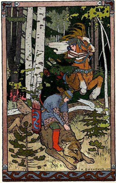 Билибин сказка Иван-царевич и серый волк