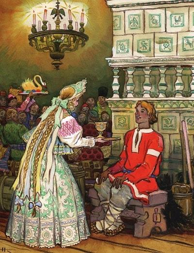 подходит к Ивану, сказка сивка-бурка читать текст с картинками все страницы крупный шрифт много иллюстраций рисунков для детей лаковая миниатюра Палех Федоскино Холуй
