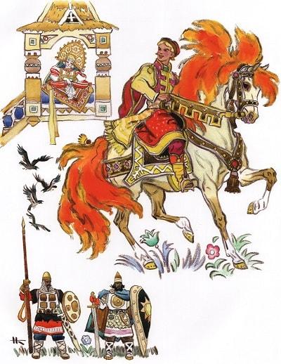 Приезжает Иван на царский двор, читать сказку Сивка-бурка бесплатно онлайн полностью, смотреть диафильм мультфильм мультик фильм сказку, слушать аудиосказку и аудиокнигу сейчас