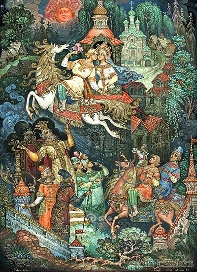 прыжок Ивана на коне, русская народная старая сказка Сивка-бурка вещая каурка про Ивана-дурака и его братьев, царя принцессу и волшебного коня кольцо поцелуй печать