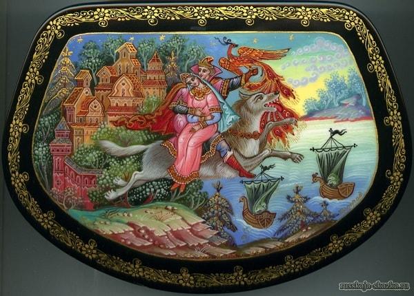 Иван-царевич и серый волк лаковая миниатюра