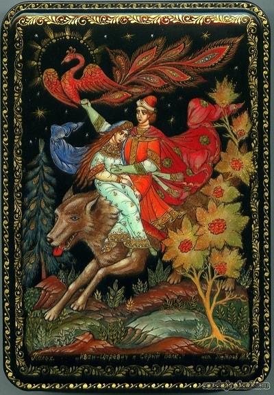 Елена Прекрасная с Иваном-царевичем на волке сказка