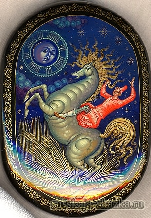 Сел на коня и поехал на царский двор, сказка сивка-бурка читать текст с картинками все страницы крупный шрифт много иллюстраций рисунков для детей лаковая миниатюра Палех Федоскино Холуй