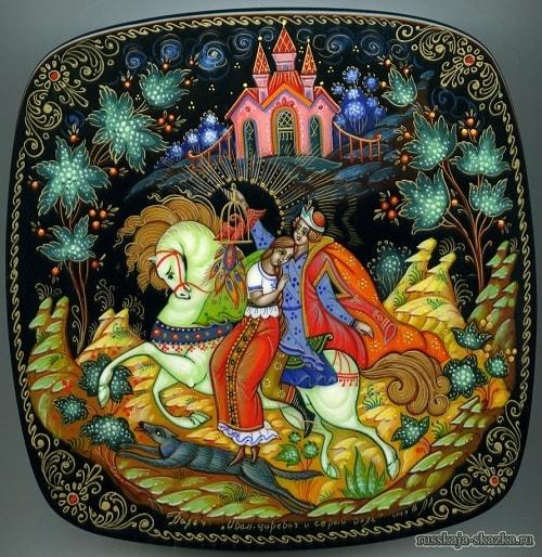 Лаковая миниатюра Иван-царевич и серый волк