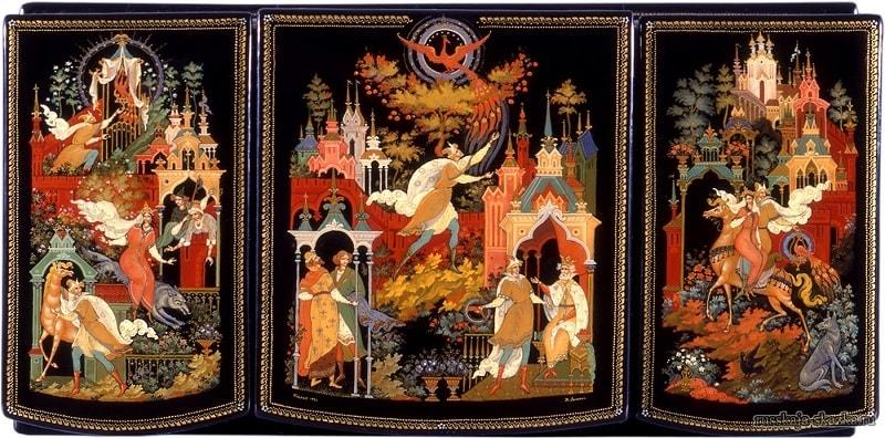 лаковая миниатюра сказка Иван-царевич и серый волк