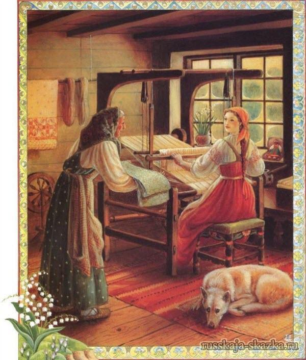 василиса-прекрасная-полотно-ткать-русская-сказка-читать