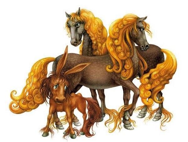 Входят братья к двум коням