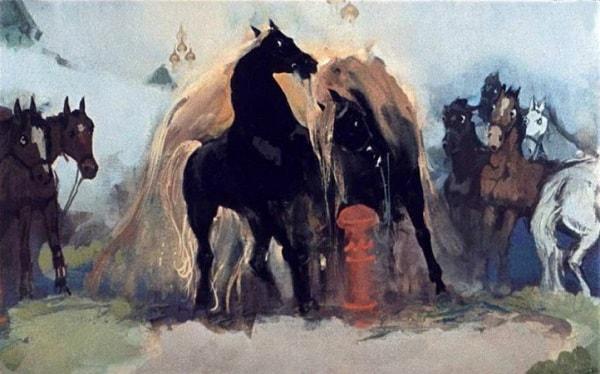 Два коня в ряду стоят