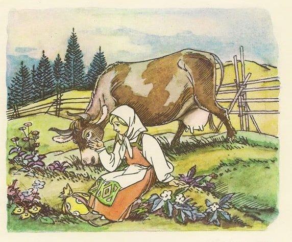 Хаврошечка баюкает любимая наша грустная сказка для всей семьи о Хаврошечке и коровушке Бурёнушке читать бесплатно на сайте сказок russkaja-skazka.ru