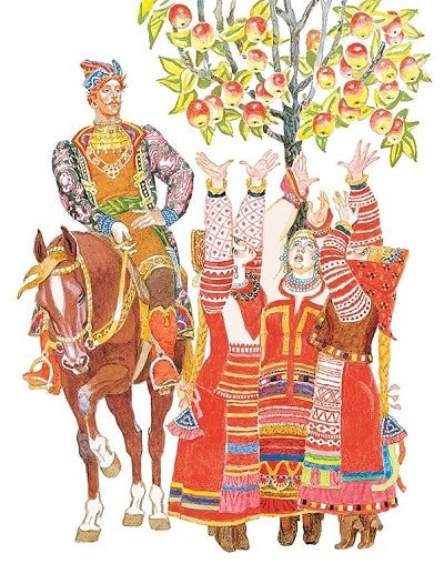 Русская сказка Хаврошечка, сёстры яблочко достать не могут русская народная сказка Крошечка Хаврошечка для детей с красивыми картинками рисунками иллюстрациями известных художников сказочников и мастеров лаковой миниатюры