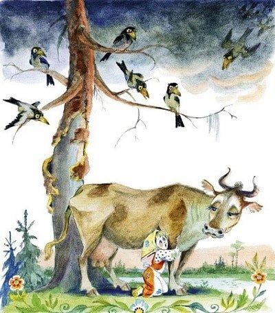 Коровушка-матушка сказка о Хаврощечке Крошечке и её сёстрах Трёхглазке Двухглазке и Одноглазке с картинками читать крупный шрифт