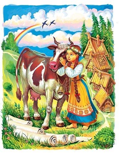 Влезет Хаврошечка коровушке в одно ушко, вылезет из другого русская народная сказка Крошечка Хаврошечка для детей с красивыми картинками рисунками иллюстрациями известных художников сказочников и мастеров лаковой миниатюры