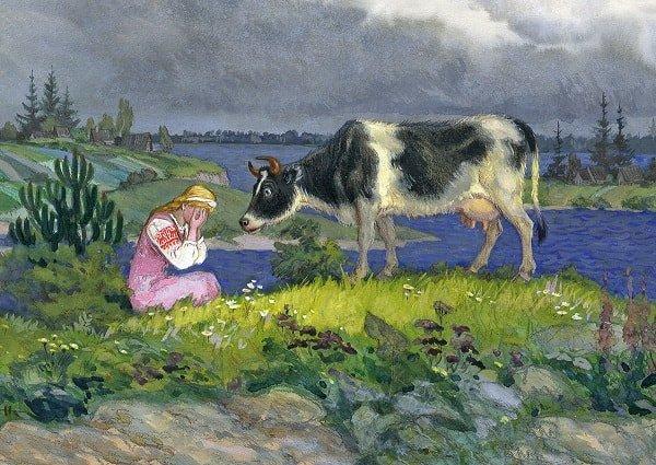 А коровушка Хаврошечке отвечает русская народная сказка о доброй трудолюбивой девушке Хаврошечке её злой мачехе сёстрах отце и коровушке корове яблоне и добром молодце женихе