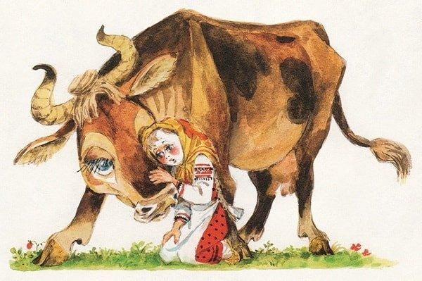 Обняла рябую коровушку сказка Крошечка Хаврошечка целиком полностью все страницу крупный шрифт текста для маленьких ребят детского сада школьников и взрослых родителей
