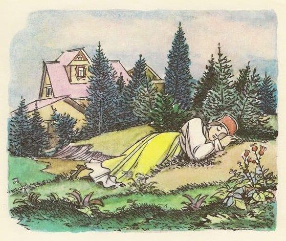 А Хаврошечка приговаривает: — Спи, глазок, спи глазок книжка детская литература с картинками Крошечка Хаврошечка Бурёнушка корова крупный шрифт весь текст сказки все страницы