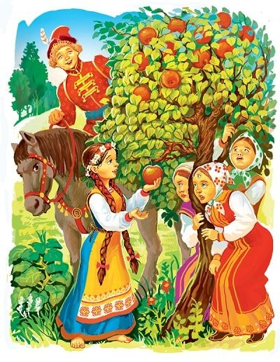 подошла Хаврошечка — веточки к ней приклонились русская народная сказка о доброй трудолюбивой девушке Хаврошечке её злой мачехе сёстрах отце и коровушке корове яблоне и добром молодце женихе