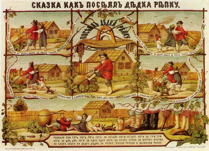 Сказка Репка, русский лубок