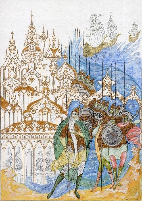 Тридцать три богатыря В чешуе, как жар горя, Лопатин, Палех