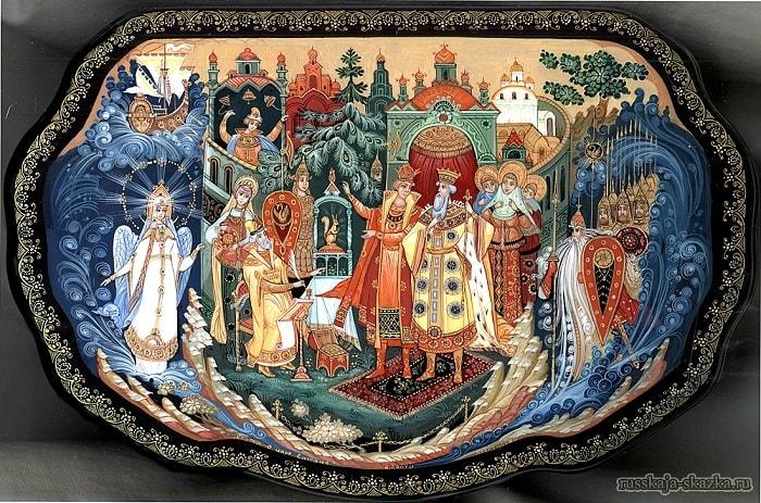 Белка золотой орех грызёт, приучение детей к чтению русских сказок, крупный шрифт, много иллюстраций русских художников