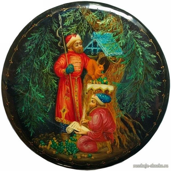белка песенки поёт, Сказка о царе Салтане, читать онлайн с картинками, лаковая миниатюра Палех, Федоскино, Мстера, Холуй, иллюстрации художников