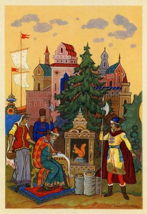 белка золотой орех грызёт, золотая коллекция сказок Пушкина А.С. с картинками для детей