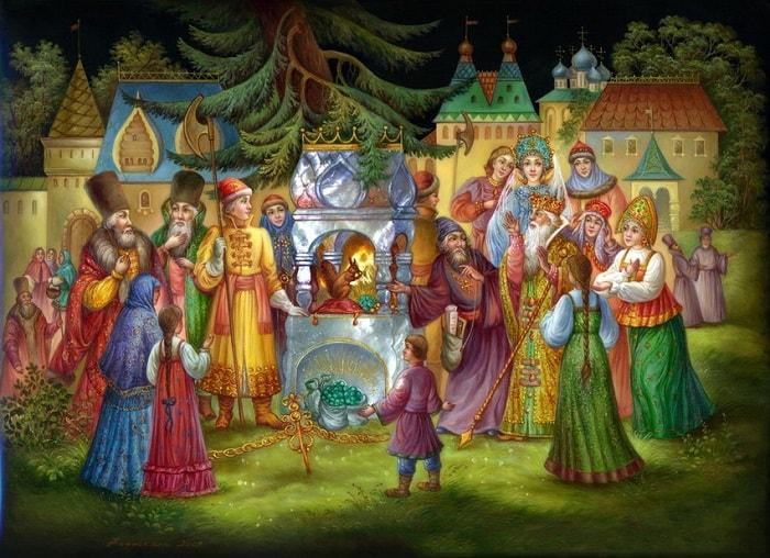 Ядра чистый изумруд, читать сказку Пушкина о царе Салтане онлайн бесплатно с красивыми красочными картинками
