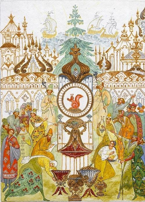 белка, сказки Пушкина, читайте сказку о царе Салтане, автор Пушкин Александр Сергеевич, сказка полностью, крупный шрифт, много красивых картинок, рисунков, иллюстраций русских художников