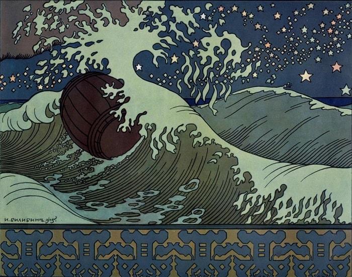 Иван Билибин, картины к сказке о царе Салтане, читать сказку Пушкина о царе Салтане онлайн бесплатно с красивыми красочными картинками