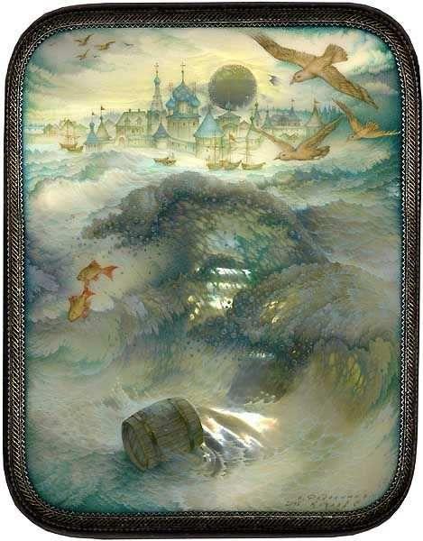 Миниатюра бочка по морю плывёт, русские народные промыслы, яркие снимки, фотографии, красивые картинки с сюжетами сказки Пушкина о царе Салтане