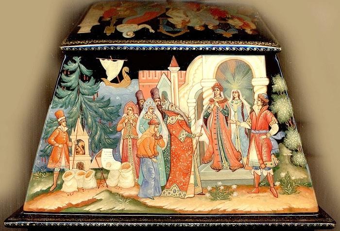 И свекровь свою ведет. Царь глядит - и узнает, золотая коллекция сказок Пушкина А.С. с картинками для детей