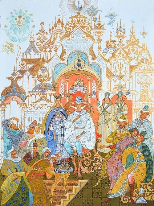 Гости князю поклонились, произведения великого русского поэта Пушкина для детей читать с картинками