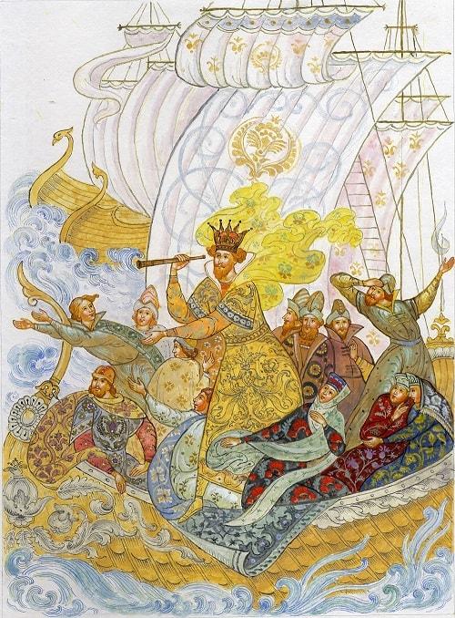 царь Салтан в трубу глядит, детям легко читать сказку о царе Салтане, когда в ней много картинок и крупный шрифт текста