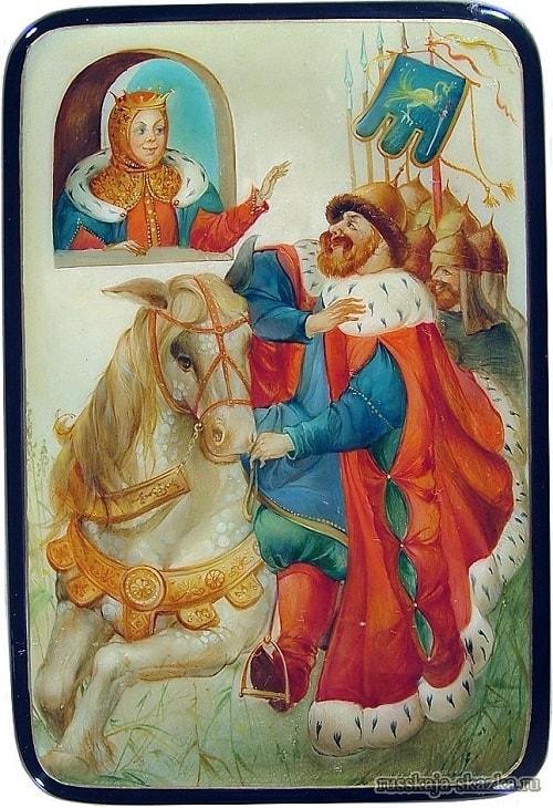 царь Салтан отправляется на войну, детям легко читать сказку о царе Салтане, когда в ней много картинок и крупный шрифт текста