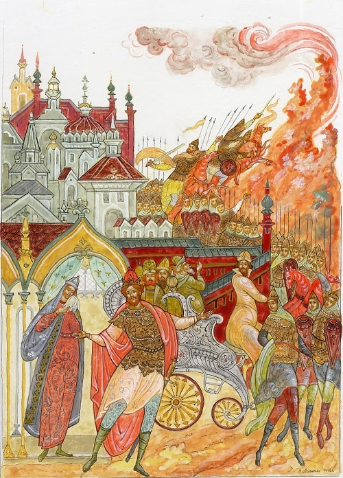 Палех картинки Лопатин, читать сказку Пушкина о царе Салтане онлайн бесплатно с красивыми красочными картинками