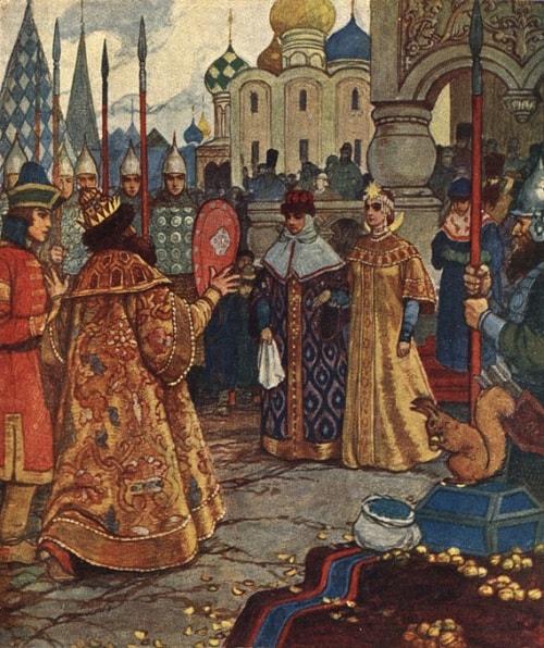 царь Салтан встретил свою жену, читайте сказку о царе Салтане, автор Пушкин Александр Сергеевич, сказка полностью, крупный шрифт, много красивых картинок, рисунков, иллюстраций русских художников
