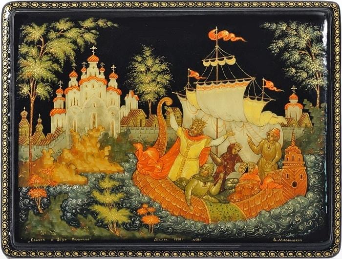Удивляются оне Незнакомой стороне, читать сказку Пушкина о царе Салтане онлайн бесплатно с красивыми красочными картинками