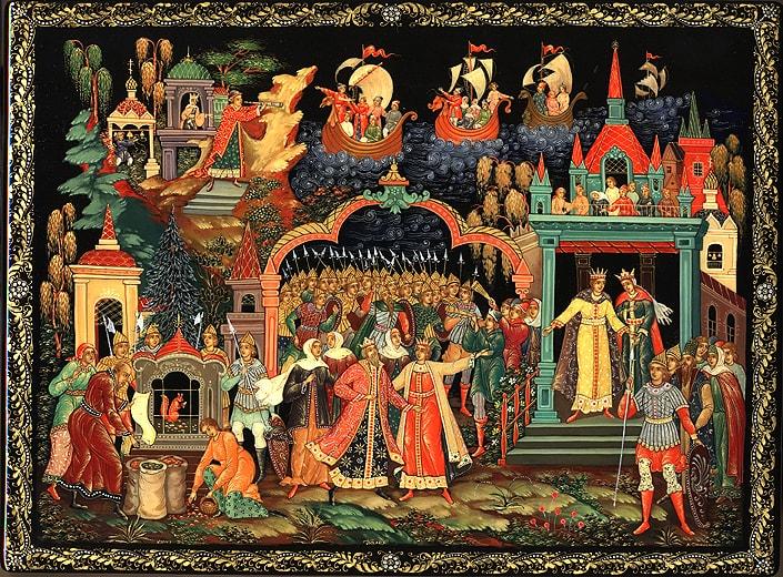 Царь Салтан, Сказка о царе Салтане, читать онлайн с картинками, лаковая миниатюра Палех, Федоскино, Мстера, Холуй, иллюстрации художников